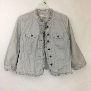SANDRO Gray Cotton Ruffle Trim Military Jacket EUC